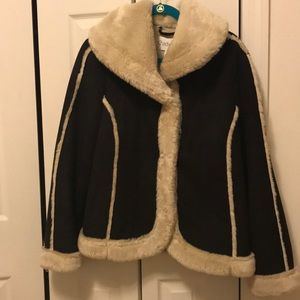 Chadwicks faux fur and faux suede coat